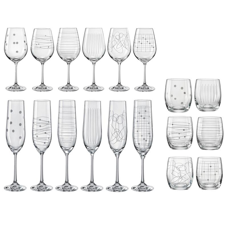 Bohemia Crystal Elements 18pcs Set - Wine, Champagne and Tumbler
