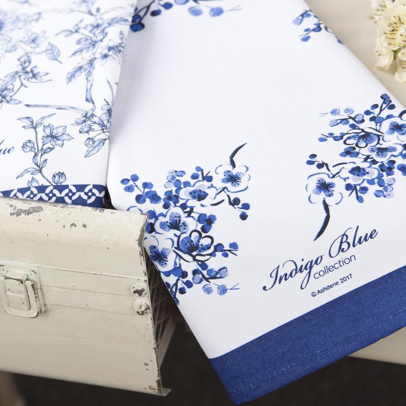 Ashdene Indigo Blue Hummingbird Tea Towel