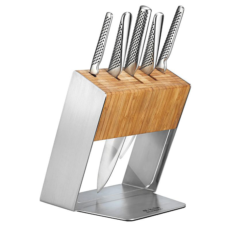 Global Knives Katana 6pcs Cutlery Block Set with MinoSharp Knife Sharpener