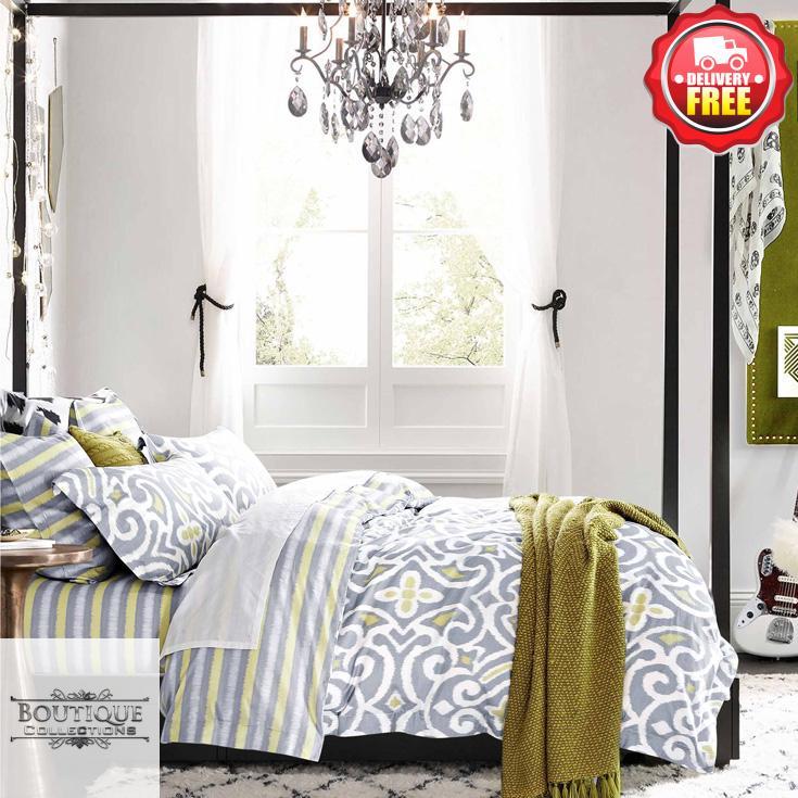 3pc Duvet Doona Quilt Cover Set Double Queen King Size Bed 400tc